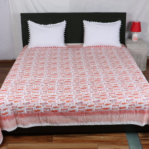 Orange Fish Kantha Bed Cover in Kantha Quilt