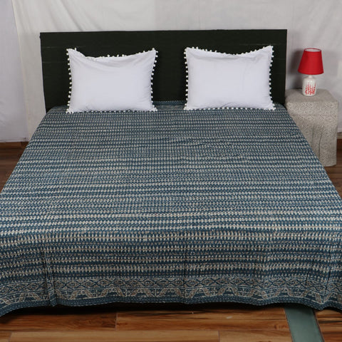 Zig Zag Kantha Bed Cover in Kantha Quilt