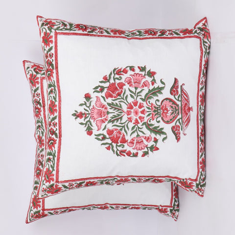 Cotton Cushion Cover Pair in Red Flower Print in Hand Block Floral print 0012BG