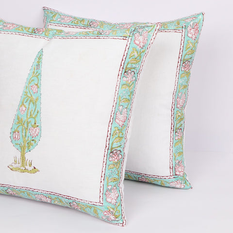 Luxury Cushion Cover Pair in Hand Block Floral print 0012BG