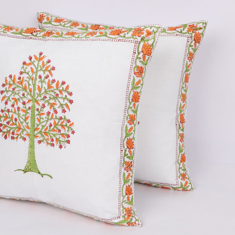 Jaipur Print Cotton Cushion Cover Pair in Hand Block Floral print 0012BG
