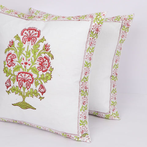 Sofa Cotton Cushion Cover Pair in Hand Block Floral print 0012BG