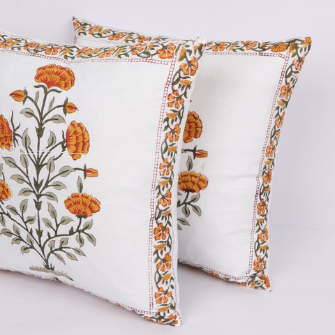 Designer Cotton Cushion Cover Pair in Hand Block Floral print 0012BG