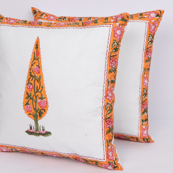 Mughal Designer Cotton Cushion Cover Pair in Hand Block Floral print 0012BG