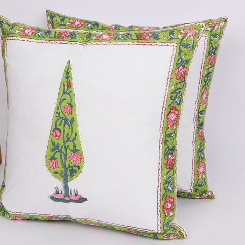 Home Decor Cotton Cushion Cover Pair in Hand Block Floral print 0012BG