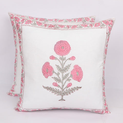 Pink Flower Cotton Cushion Cover Pair in Hand Block Floral print 0012BG