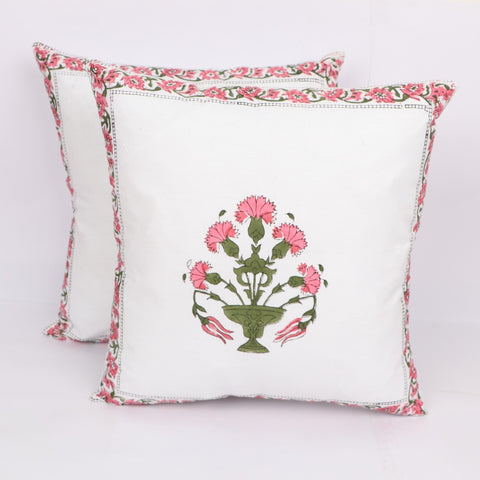 Soft Unique Cotton Cushion Cover Pair in Hand Block Floral print 0012BG