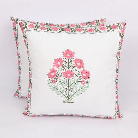 lime Pink Cotton Cushion Cover Pair in Hand Block Floral print 0012BG