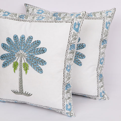 Tree Print Cotton Cushion Cover Pair in Hand Block Floral print 0012BG