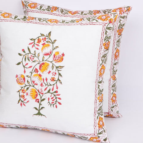 Unique Cotton Cushion Cover Pair in Hand Block Floral print 0012BG