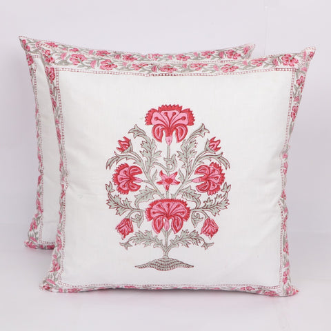 Handicraft Cotton Cushion Cover Pair in Hand Block Floral print 0012BG