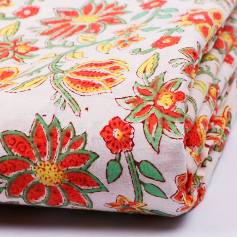 Flower Print in Pure Cotton Hand Block Print Garments Fabric002BG