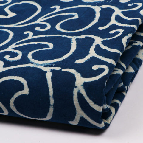 Indigo Print in Pure Cotton Hand Block Print Garments Fabric002BG