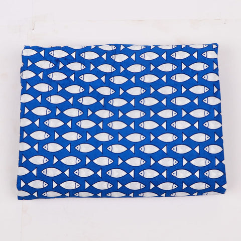 Fish Print in Pure Cotton Hand Block Print Garments Fabric002BG