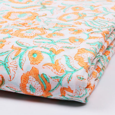 Orange Flower Cotton Hand Block Print Garments Fabric002BG