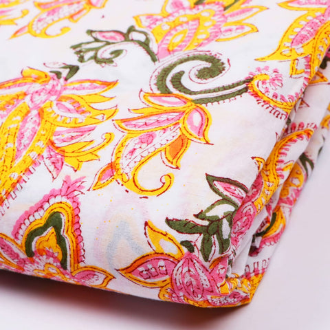 Jaal Flower Pattern Cotton Hand Block Print Garments Fabric002BG