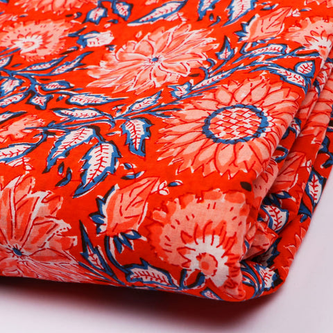 Organic Pattern Cotton Hand Block Print Garments Fabric002BG
