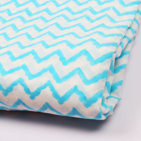 Zig Zag Pattern Cotton Hand Block Print Garments Fabric002BG
