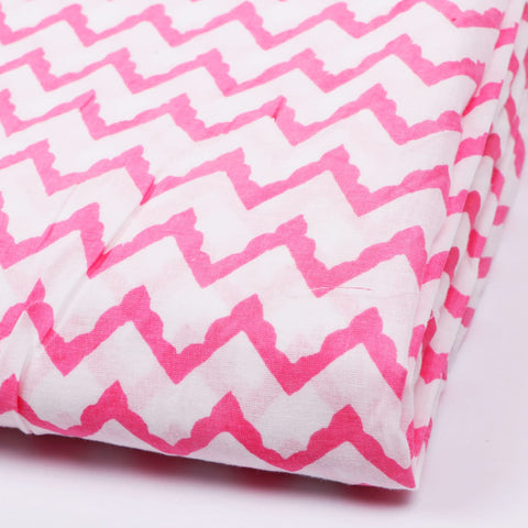 Wave Pattern Cotton Hand Block Print Garments Fabric002BG