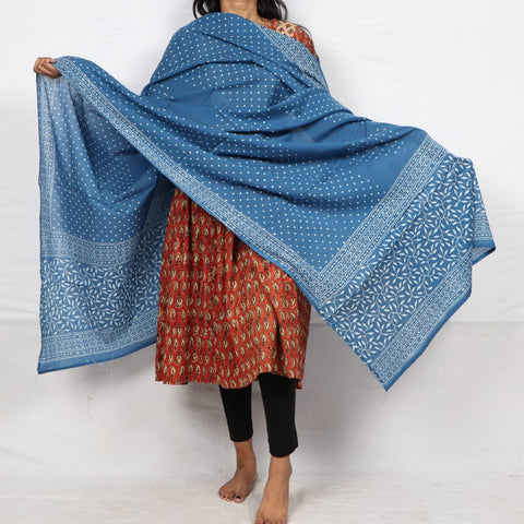 Dot Pattern in Indigo Print in 100% Cotton Hand Block Print Dupatta