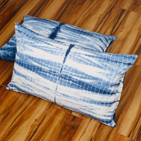 Shibori Pattern Tie Dye Pillow Cover in Pure Cotton Fabric