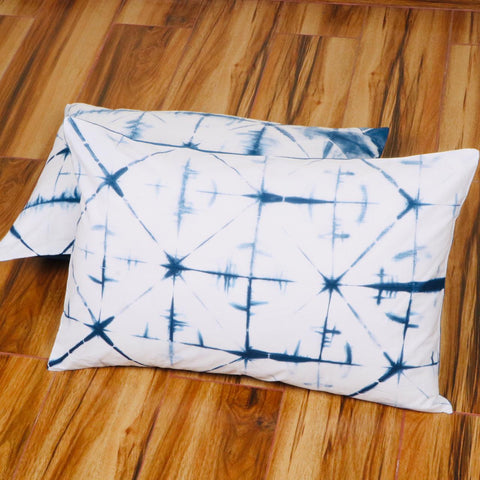 Whitish Line Stylish Pattern Tie Dye Pillow Cover in Pure Cotton Fabric