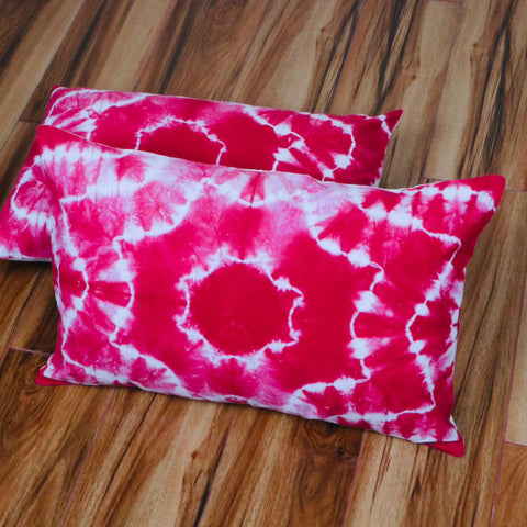 Pinkish Pattern Tie Dye Pillow Cover in Pure Cotton Fabric