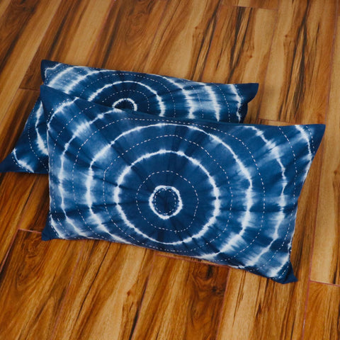 Round Pattern Tie Dye Pillow Cover in Pure Cotton Fabric