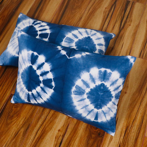 Flower Pattern Tie Dye Pilllow Cover in Pure Cotton Fabric