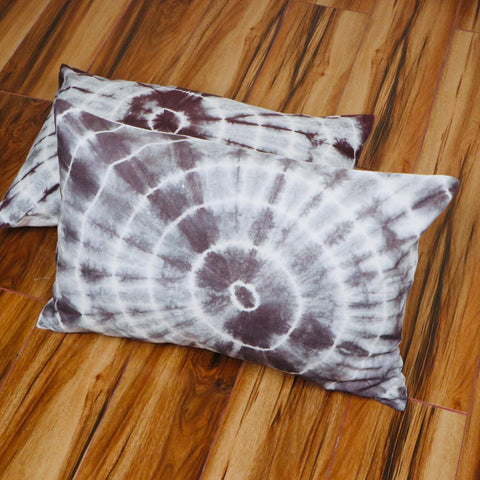 Brown  Pattern Tie Dye Pilllow Cover in Pure Cotton Fabric