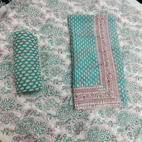 Greenish Block Motifs in Cotton Hand Block Print Salwar with Dupatta 00BG02