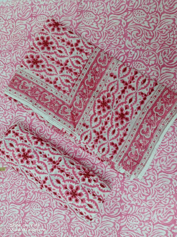 Reddish Lovable Pattern in Cotton Hand Block Print Salwar with Dupatta 00BG02