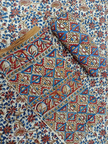 Kalamkari Design Pattern in Cotton Hand Block Print Salwar with Dupatta 00BG02