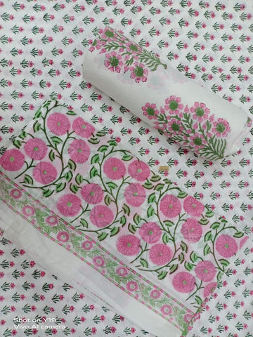 Pink Flower Pattern in Cotton Hand Block Print Salwar with Dupatta 00BG02