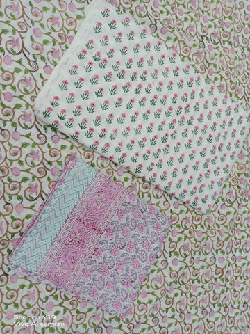 Indian Flower Pattern in Cotton Hand Block Print Salwar with Dupatta 00BG02