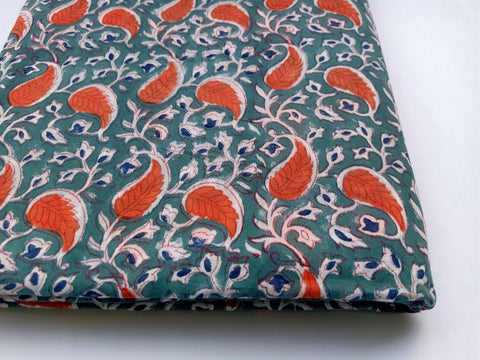 Red Tree Pattern Cotton in Hand Block Print Garments Fabric002BG