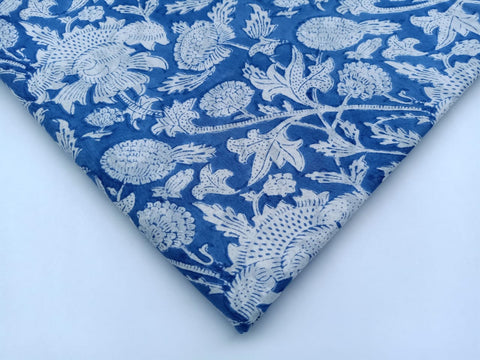 Bluish Ghad Pattern Cotton in Hand Block Print Garments Fabric002BG