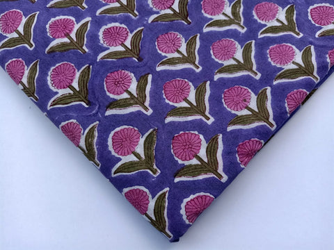 Purple Lotus Pattern Cotton in Hand Block Print Garments Fabric002BG