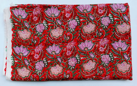 Reddish Lotus Pattern Cotton in Hand Block Print Garments Fabric002BG