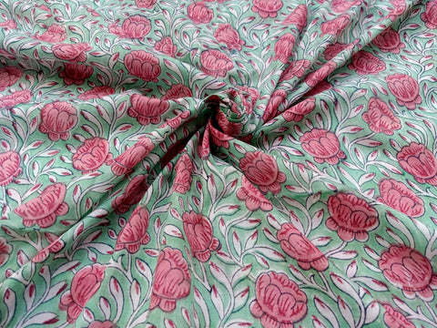 Rose Flower Pattern Cotton in Hand Block Print Garments Fabric002BG