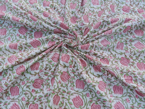 Pink Rose Pattern Cotton Garments Fabric in Hand Block BG002