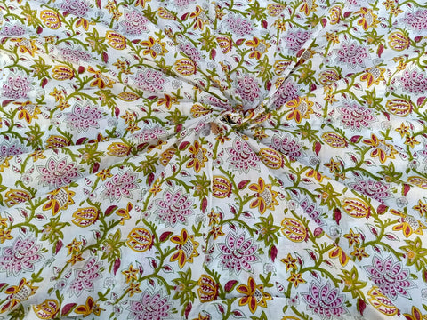 Flower Pattern Cotton Garments Fabric in Hand Block Print BG