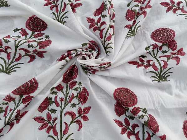 Reddish Round Flower Pattern Cotton Garments Fabric in Hand Block Print BG