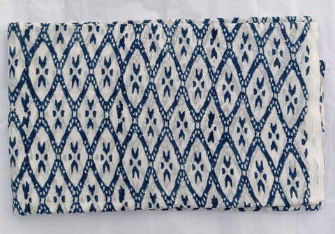 Bluish Ekkat Pattern Cotton Garments Fabric in Hand Block Print BG
