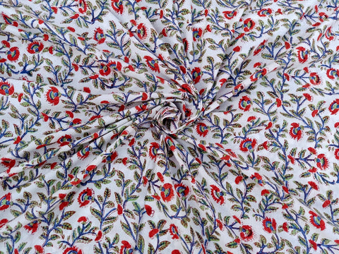 Small Flower Motifs Pattern Cotton Garments Fabric in Hand Block Print BG