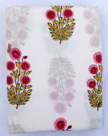 Flower Motifs Fabric Pattern in Cotton Garments Fabric in Hand Block Print BG