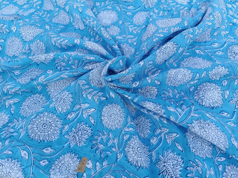 Bluish Soft Fabric Pattern in Cotton Garments Fabric in Hand Block Print BG