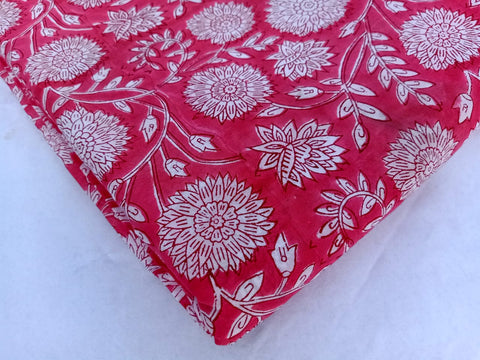 Blood Pinkish Fabric Pattern in Cotton Garments Fabric in Hand Block Print BG