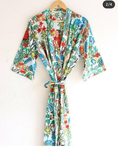 High Standard Pure Cotton Bathrobe in Hand Block Print002BG