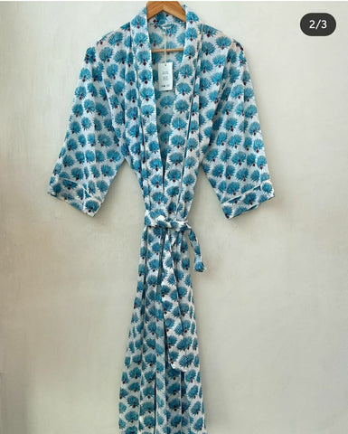 Pure Cotton Women Bathrobe in light blue Color 002BG